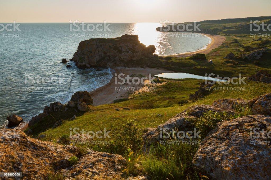 Generals beach at dawn. Karalar regional landscape park in Crimea. stock photo