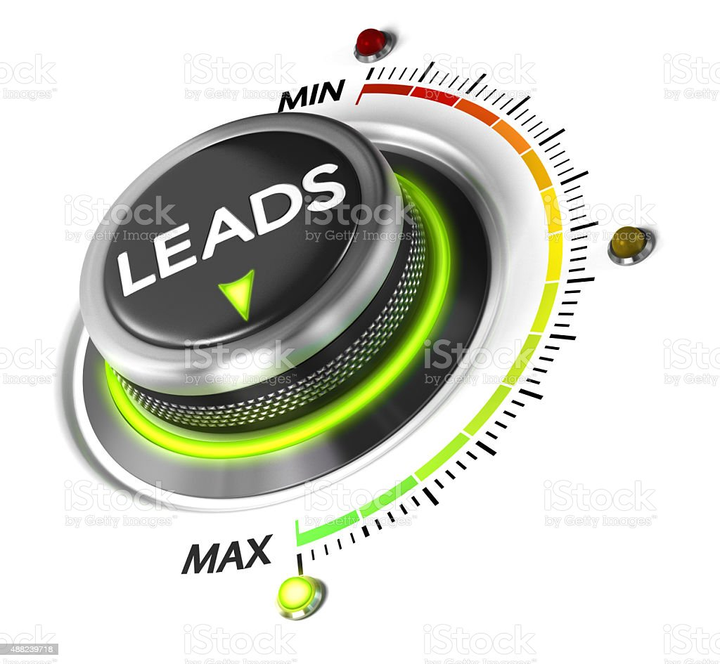 Generate More Leads Leads switch button positioned on maximum, white background and green light. Conceptual image for leads generation illustration. 2015 Stock Photo