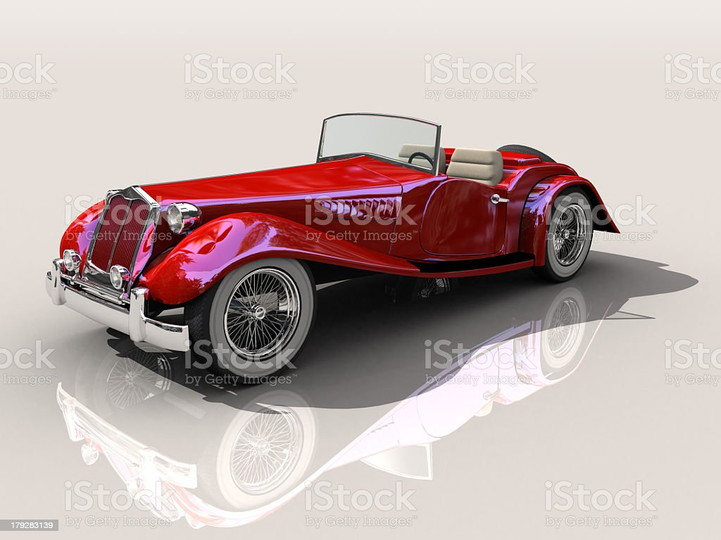 3D generated model of red vintage car in side view royalty-free stock photo