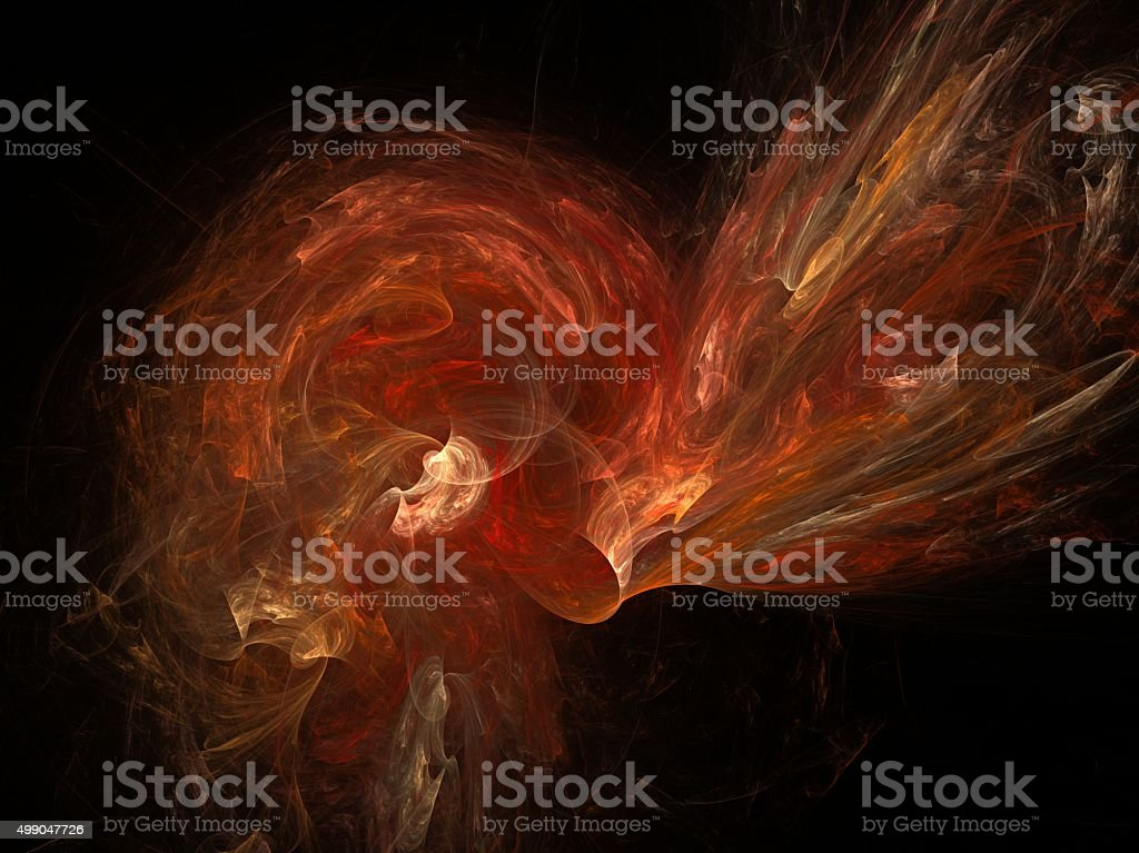 Generated orange, red abstract fractal stock photo