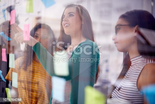 Shot of a group of young businesswomen having a brainstorming session in a modern office