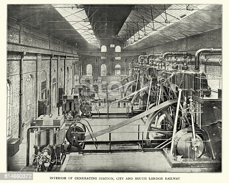 Vintage photograph of the interior of the Generating Station, City and South London Railway, 1899