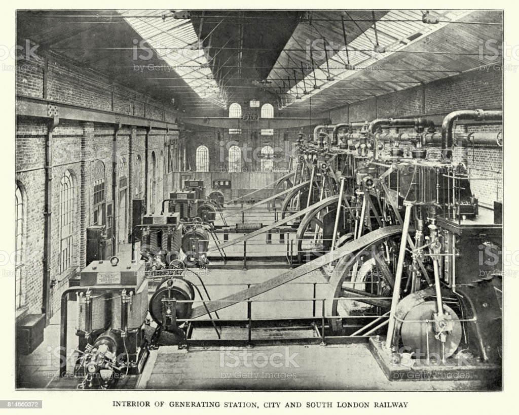 Generating Station, City and South London Railway, 1899 stock photo