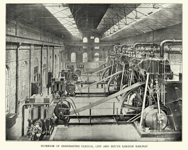 generating station, city and south london railway, 1899 - industrial revolution stock pictures, royalty-free photos & images