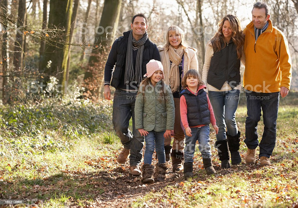 3 Generation family on country walk in winter royalty-free stock photo