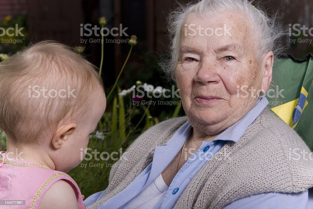 Generation Grandmother and Granddaughter royalty-free stock photo