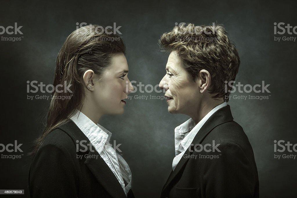 generation metaphor in business dress stock photo