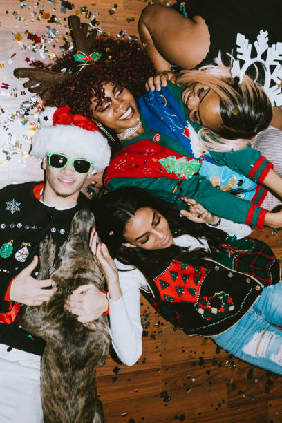 Generation Z Friends Christmas Party stock photo