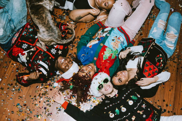 generation z friends christmas party - ugly sweater stock pictures, royalty-free photos & images
