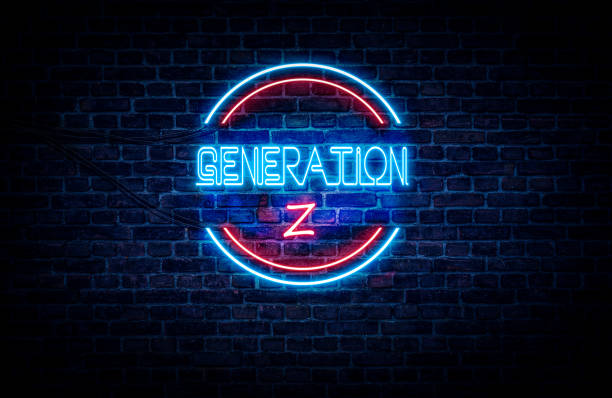 Generation Z sign A blue and red neon sign on a brick wall that reads: GENERATION Z generation z stock pictures, royalty-free photos & images