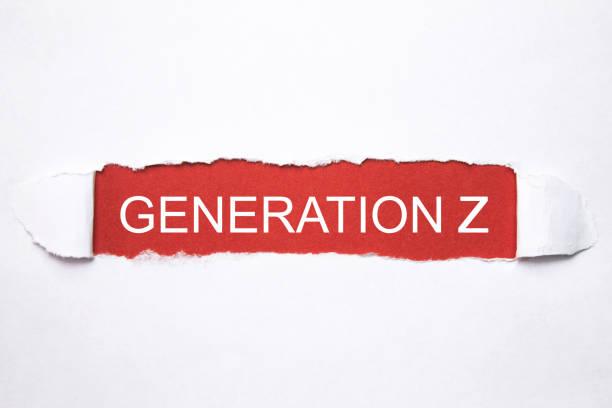 破れた紙の世代 z のテキスト。 - gen z ストックフォトと画像