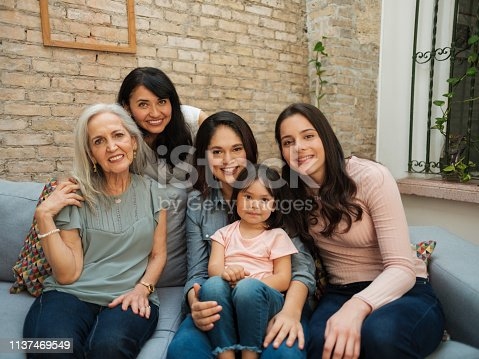 Three generations of beautiful Mexican women from the same family sitting together smiling at the camera.
