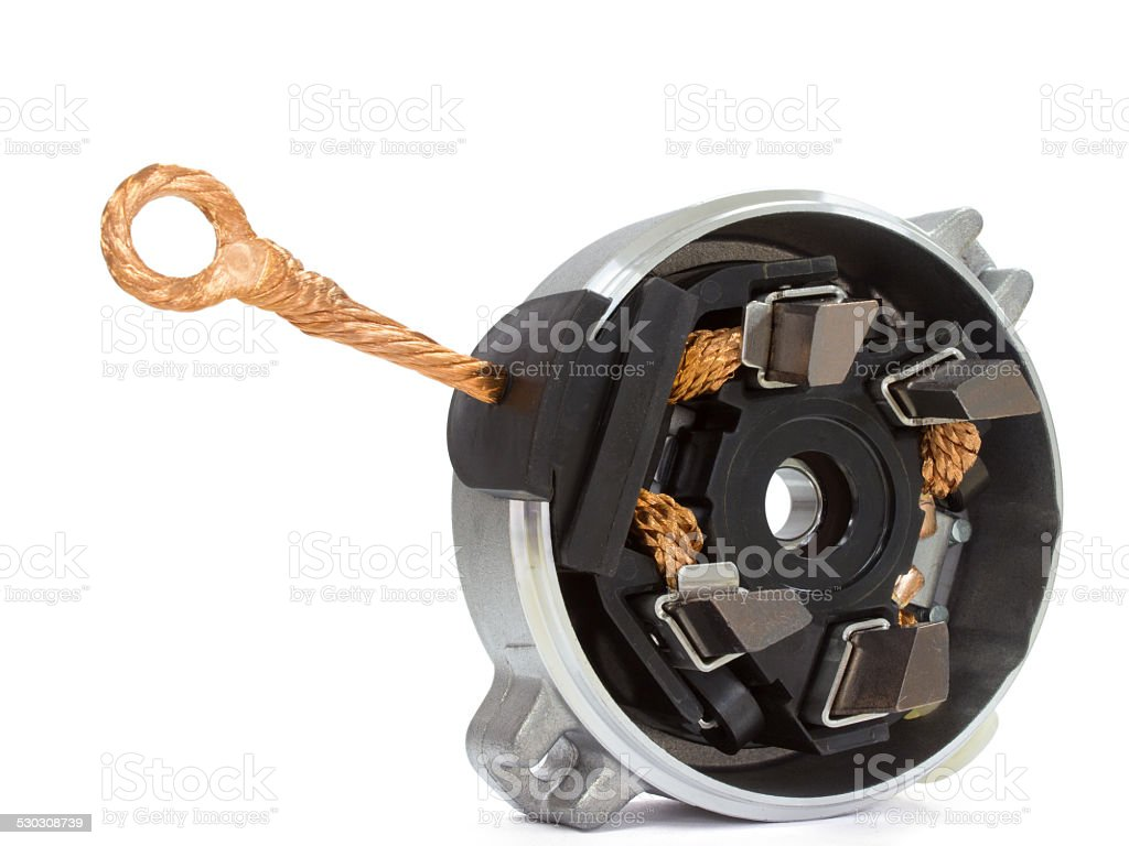 Generator brushes on a white background spare parts stock photo