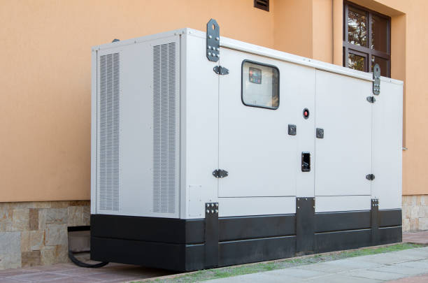 Generator for emergency electric power. stock photo