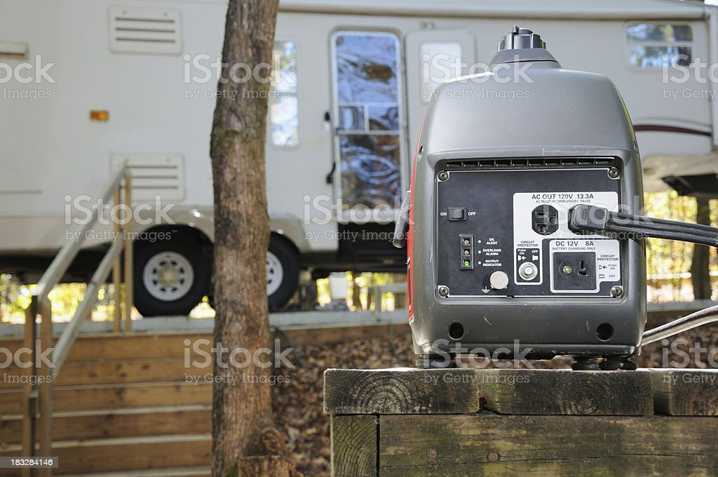 Generator in rv campground stock photo