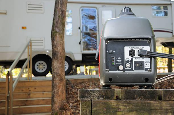 Generator in rv campground stock photo