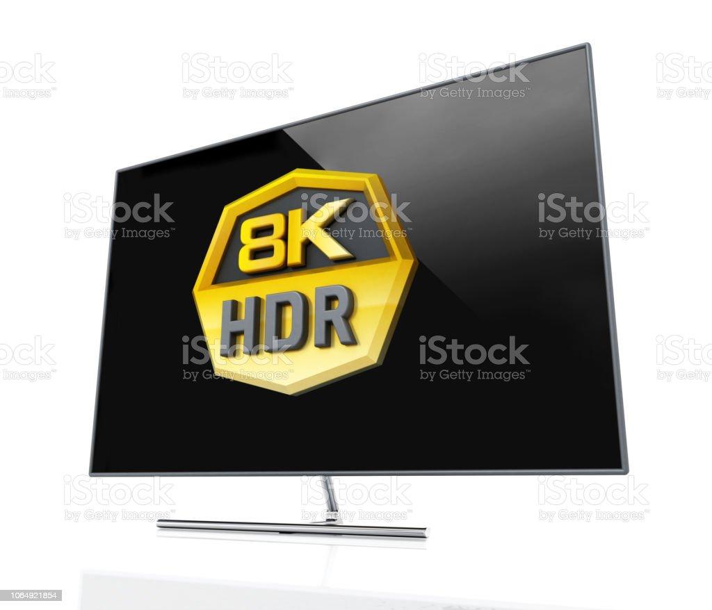 Generische 8K Ultra HD HDR Fernsehen. 3D illustration – Foto