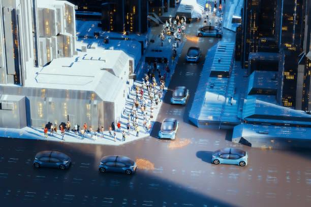Generic autonomous concept cars in the street stock photo