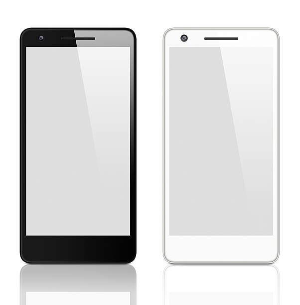 Generic black and white smart phones with clipping path stock photo