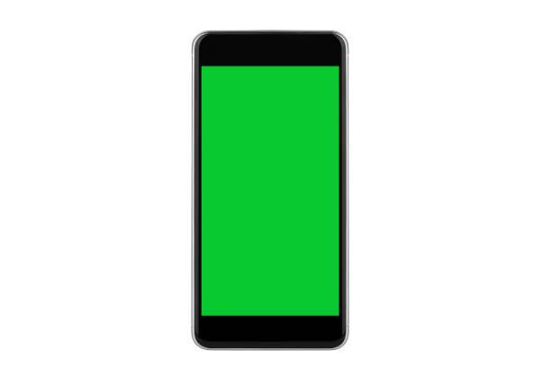 generieke zwart-wit smartphones met chromakey - green screen stockfoto's en -beelden