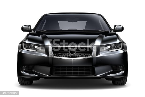 isolated Generic black car  on white background