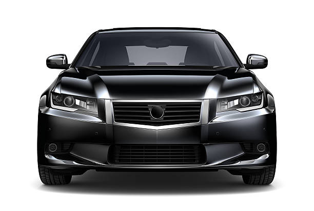 Generic black car - front view isolated Generic black car  on white background vehicle hood stock pictures, royalty-free photos & images