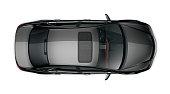 Generic black car isolated on white