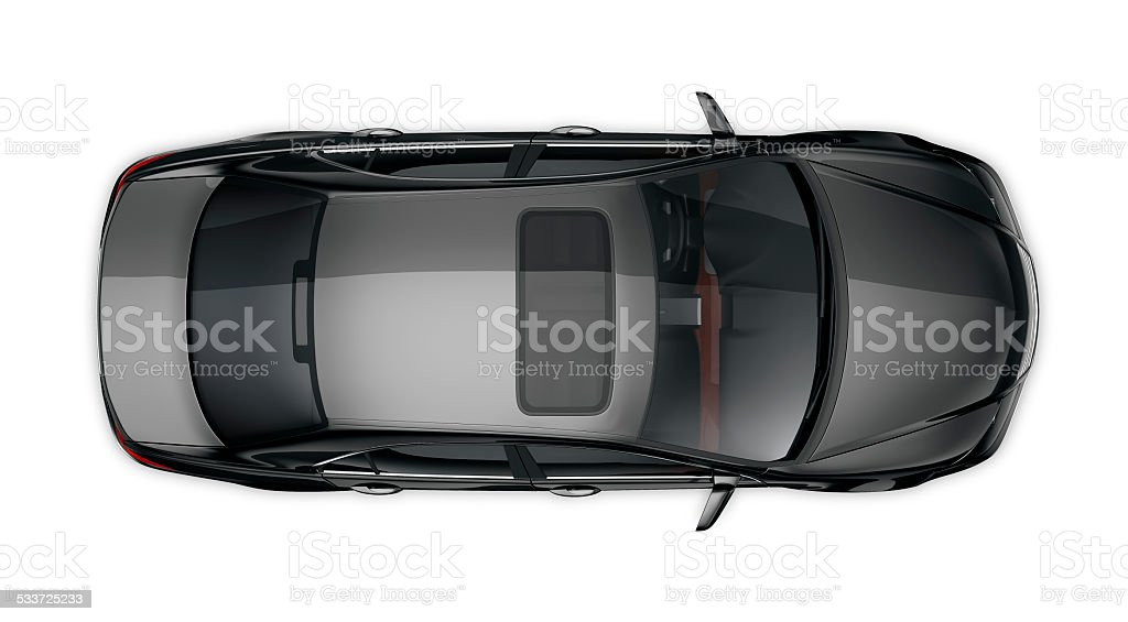 Generic black car isolated on white stock photo