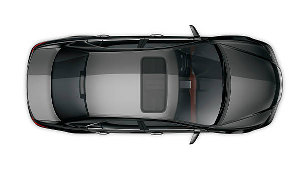 generic black car isolated on white - high angle view stock pictures, royalty-free photos & images