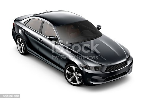 475358758 istock photo Generic black car on white 485481458