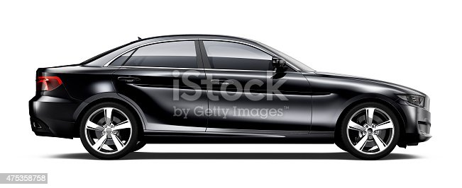 475358758 istock photo Generic black car - side view 475358758