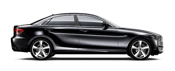 Generic black car - side view Isolated Generic black car on white background side view stock pictures, royalty-free photos & images