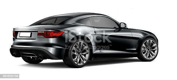 isolated Generic black coupe car on white background