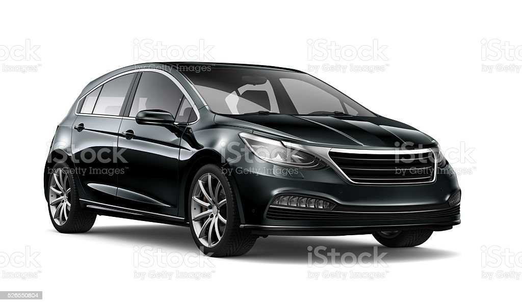 Generic black hatchback car stock photo