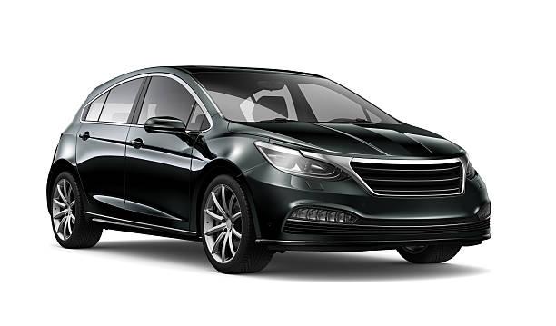 Generic black hatchback car stock photo