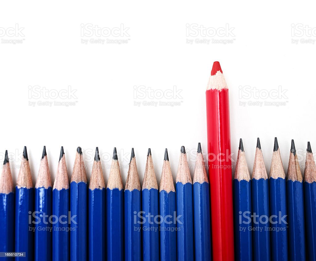Generic Blue Pencils and Red Crayon on White stock photo