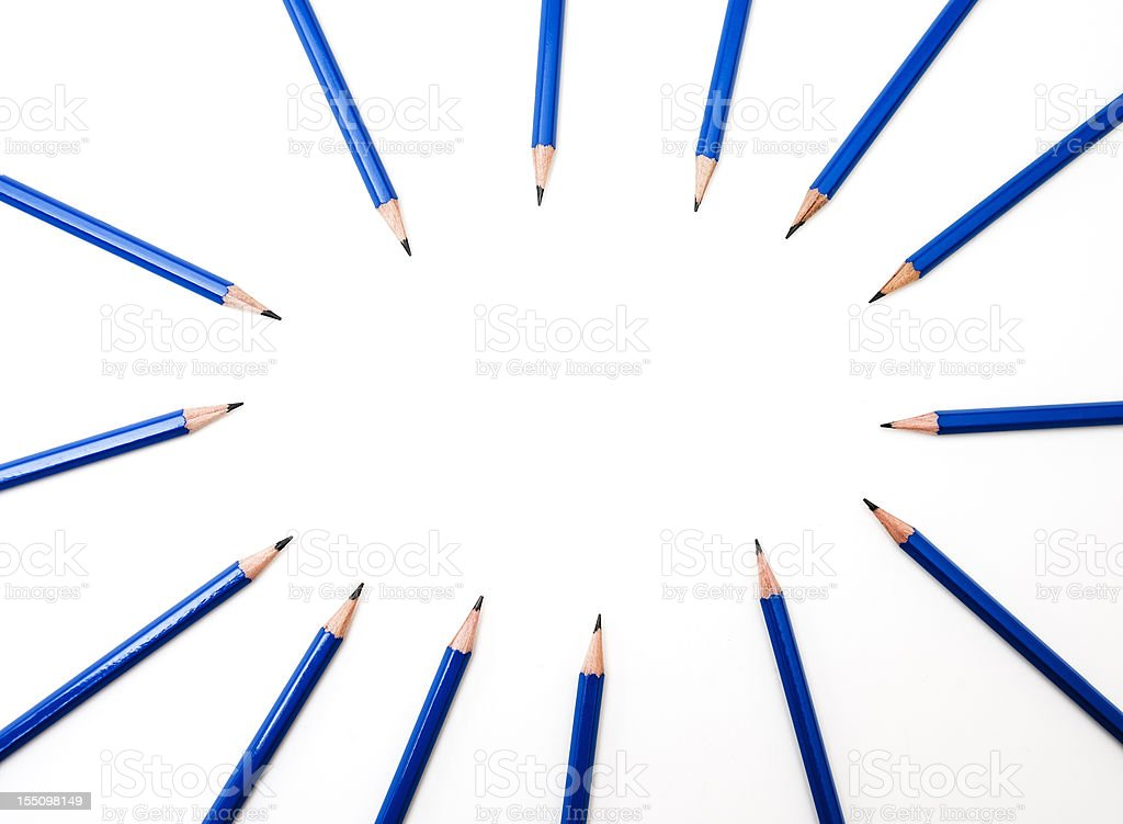 Generic Blue Pencils on White royalty-free stock photo