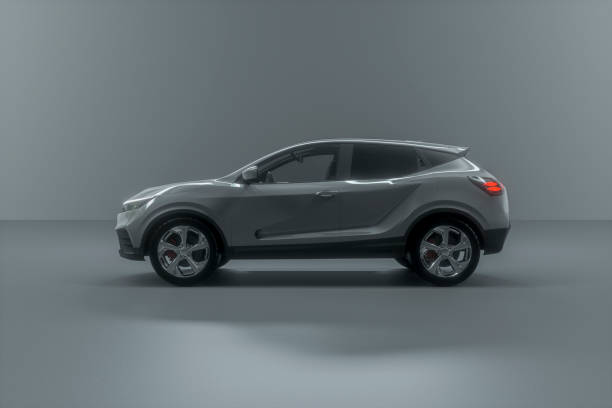 Generic brandless grey silver modern car stock photo