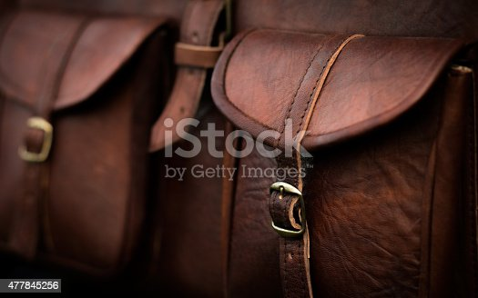 Close up of side pocket on a generic brown leather bag with a rustic design and fine stitching.