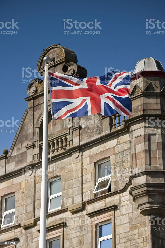 Generic Building and Flag royalty-free stock photo