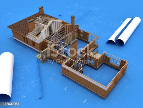 istock Generic Building Under Construction over Blueprints 147032054