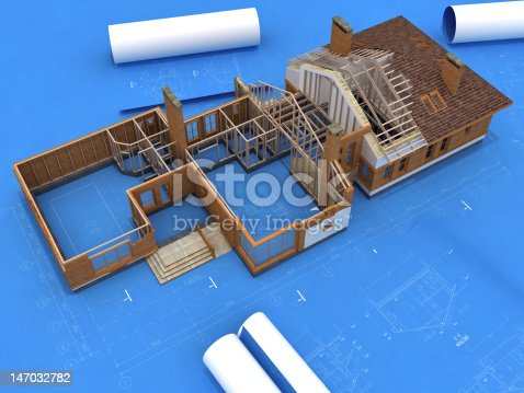 istock Generic Building Under Construction over Blueprints 147032782