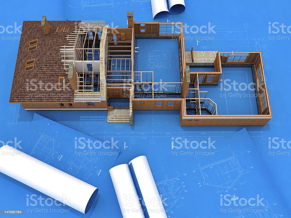 Generic Building Under Construction over Blueprints royalty-free stock photo