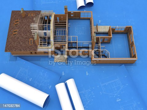 istock Generic Building Under Construction over Blueprints 147032784