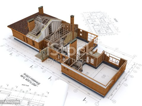 istock Generic Building Under Construction with Blueprints Isolated on White 147032756