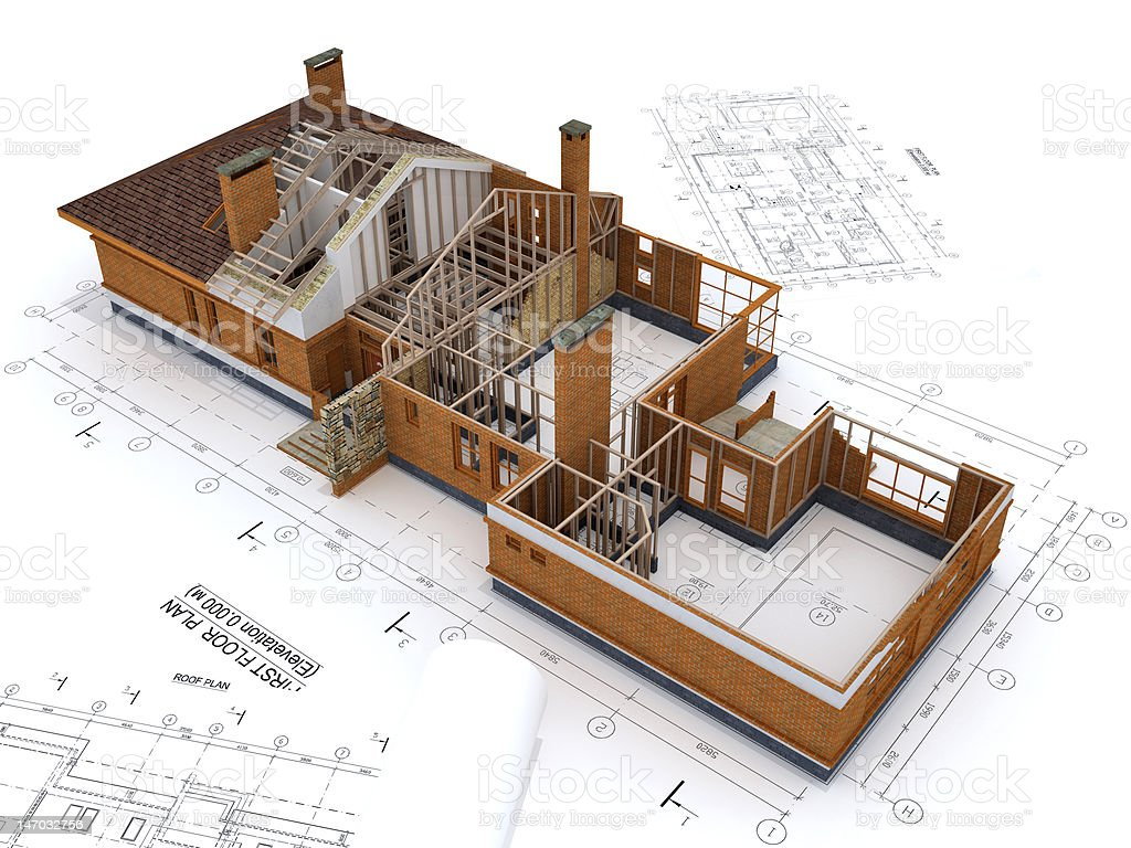 Generic Building Under Construction with Blueprints Isolated on White stock photo
