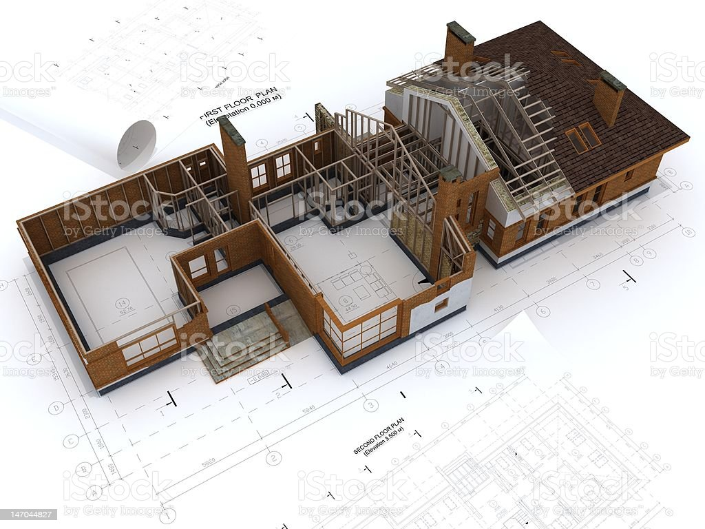 Generic Building Under Construction with Blueprints Isolated on White royalty-free stock photo