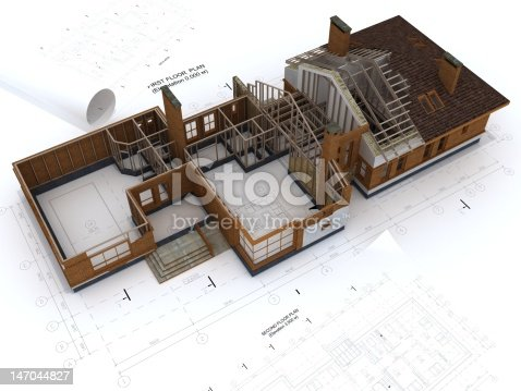 istock Generic Building Under Construction with Blueprints Isolated on White 147044827