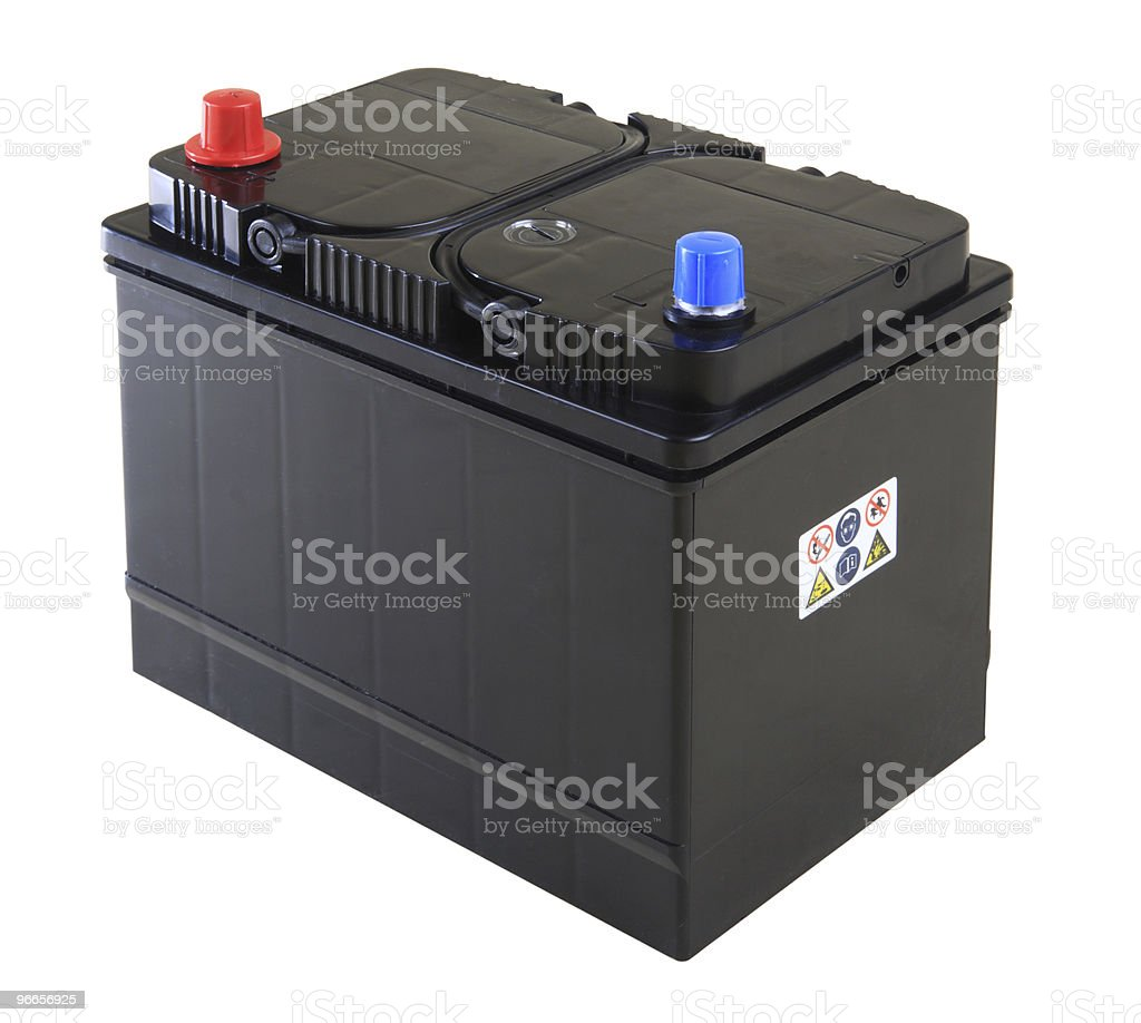 Generic car battery on a white background royalty-free stock photo