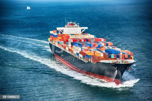 istock Generic Cargo Container Ship at Sea 591986620